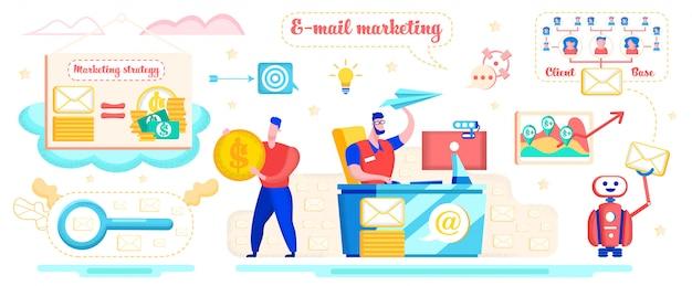 Concepto plano de la estrategia de marketing de correo electrónico