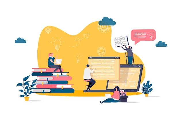 Concepto plano de estudio en línea con ilustración de personajes de personas