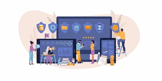 Concepto plano de evaluación empresarial, datos y evaluación de personas