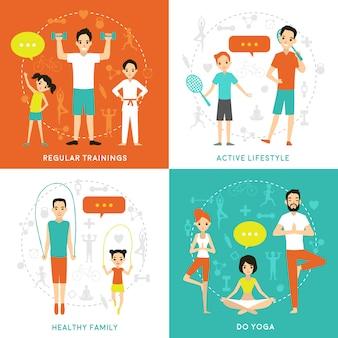 Concepto plano de la familia sana