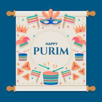 Concepto plano feliz día de purim