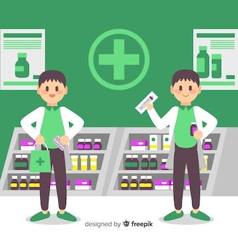 Concepto plano de fondo de concepto de farmacia