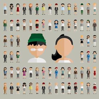 Concepto plano de los iconos del diseño de la gente de la comunidad de la diversidad