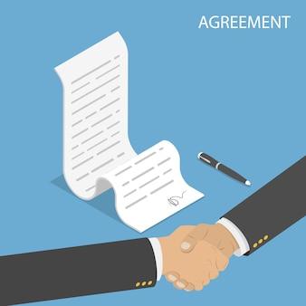 Concepto plano isométrico de acuerdo, apretón de manos, firma de contrato.