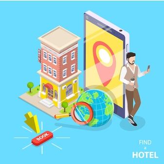 Concepto plano isométrico de búsqueda de hoteles.