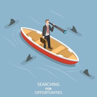 Concepto plano isométrico de búsqueda de oportunidades, visión empresarial