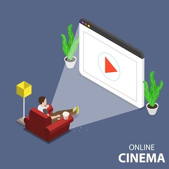Concepto plano isométrico de cine en casa en línea.