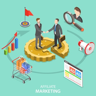 Concepto plano isométrico de estrategia de marketing de afiliados.