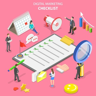 Concepto plano isométrico de lista de verificación de marketing, marketing digital, campaña publicitaria en internet.