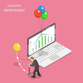 Concepto plano isométrico de mejora de indicadores, aumento de la eficiencia, crecimiento financiero.