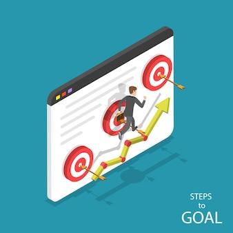 Concepto plano isométrico de pasos hacia la meta, ambiciones comerciales, motivación, camino hacia el éxito.
