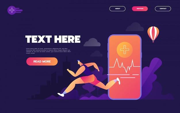 Concepto plano isométrico de rastreador de ejercicios, reloj inteligente, deporte con teléfonos inteligentes y estilo de vida saludable, -,