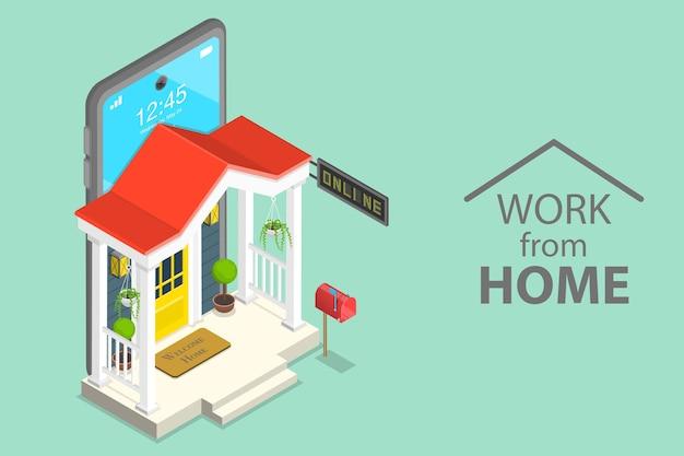 Concepto plano isométrico de trabajar en casa, autoaislamiento durante la pandemia covid-19, educación en línea.