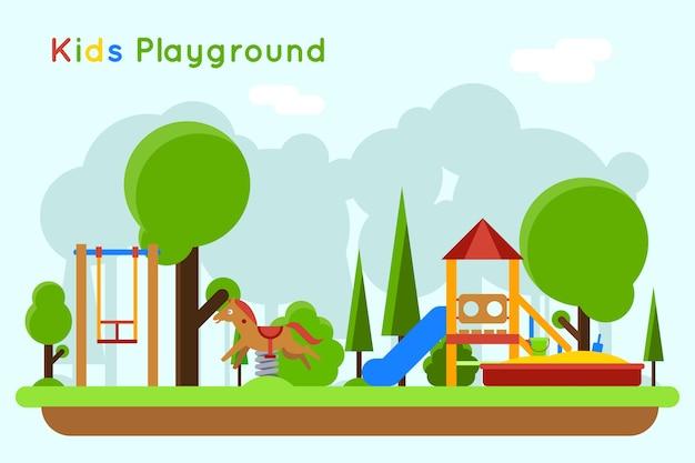 Concepto plano de juegos infantiles. tobogán al aire libre, arena e infancia