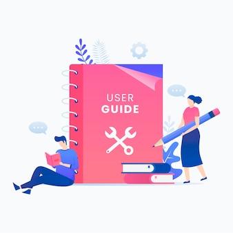 Concepto plano del libro manual de usuario.