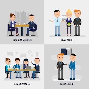 Concepto plano de personas de negocios