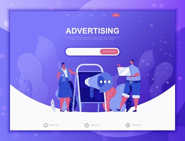 Concepto plano publicitario, plantilla web de página de destino