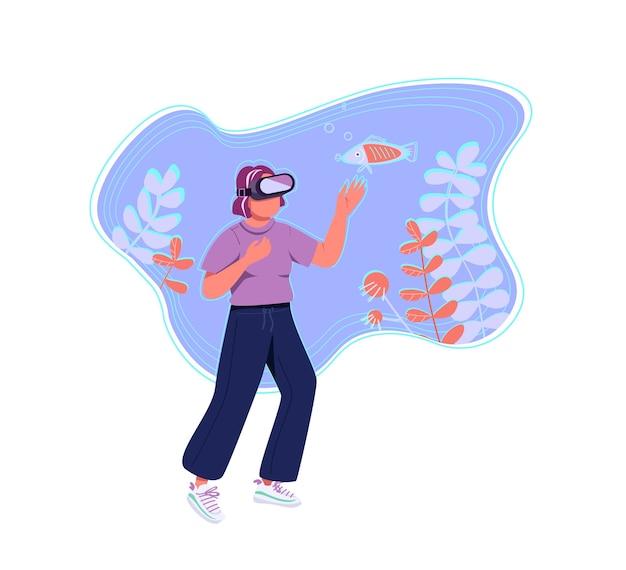 Concepto plano de realidad virtual. mujer joven, adolescente en personaje de dibujos animados 2d de auriculares vr para diseño web. simulación de exploración de la vida marina, idea creativa de experiencia inmersiva
