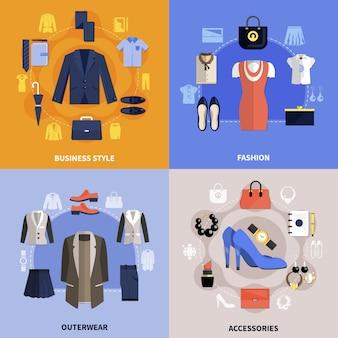 Concepto plano de ropa