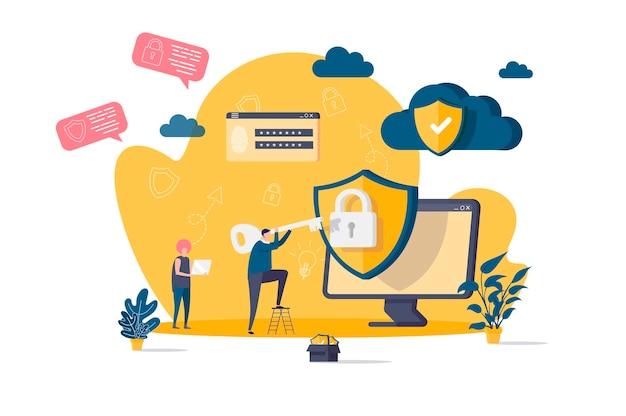 Concepto plano de seguridad cibernética con ilustración de personajes de personas