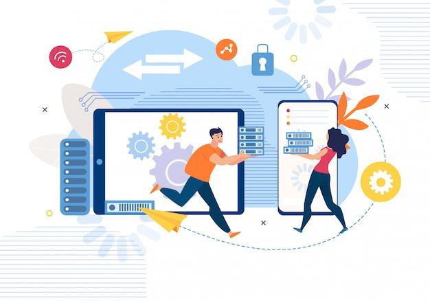 Concepto plano del servicio de copia de seguridad de datos empresariales