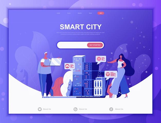 Concepto plano de smart city, plantilla web de página de destino