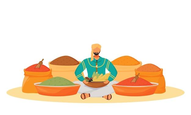 Concepto plano de la tienda de especias. hombre sentado en posición de loto, condimentos vendedor ambulante personaje de dibujos animados 2d para diseño web. aromas tradicionales indios que intercambian ideas creativas.
