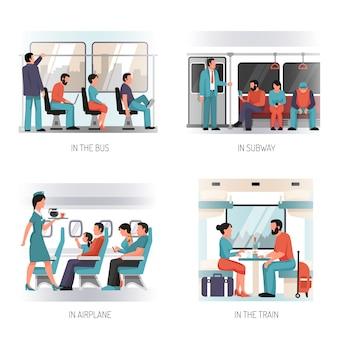 Concepto plano de transporte de personas