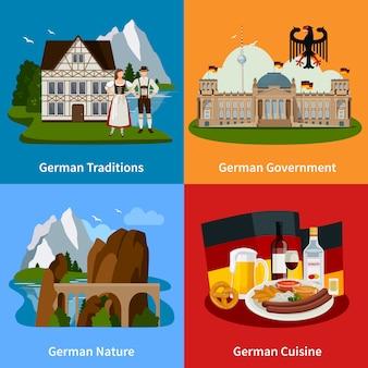 Concepto plano de viajes de alemania