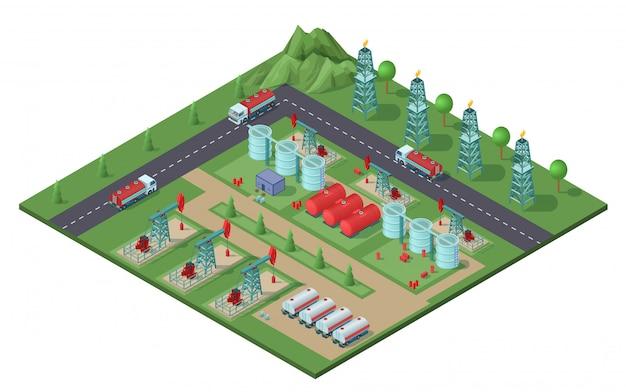 Concepto de planta de campo petrolero industrial isométrica