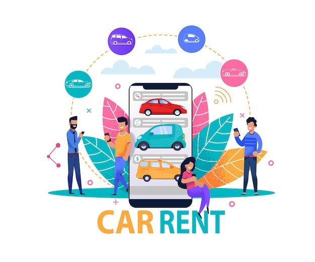 Concepto y plantilla de la aplicación de alquiler de automóviles