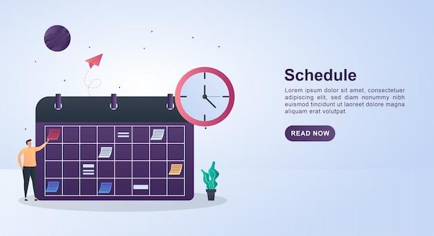 Concepto de plantilla de banner de horario con un gran calendario y reloj de pared.