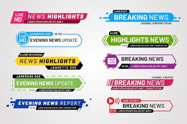 Concepto de plantilla de banners de noticias de última hora