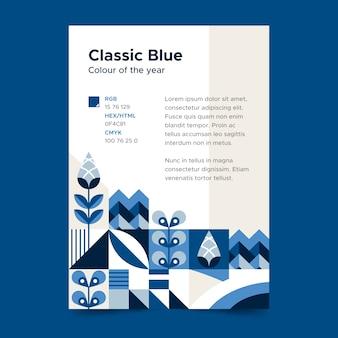 Concepto de plantilla de cartel azul clásico abstracto