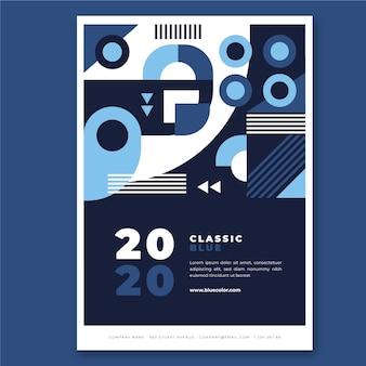 Concepto de plantilla de cartel azul clásico abstratc