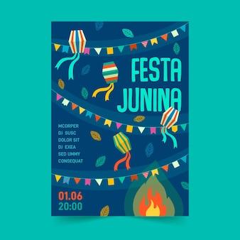Concepto de plantilla de cartel de diseño plano festa junina