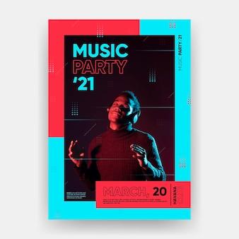 Concepto de plantilla de cartel de evento musical 2021