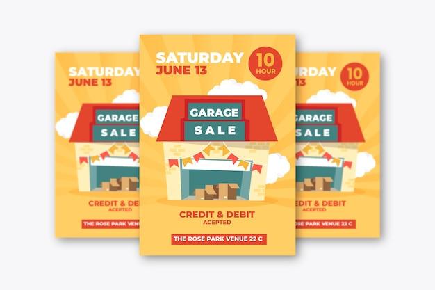 Concepto de plantilla de cartel de venta de garaje