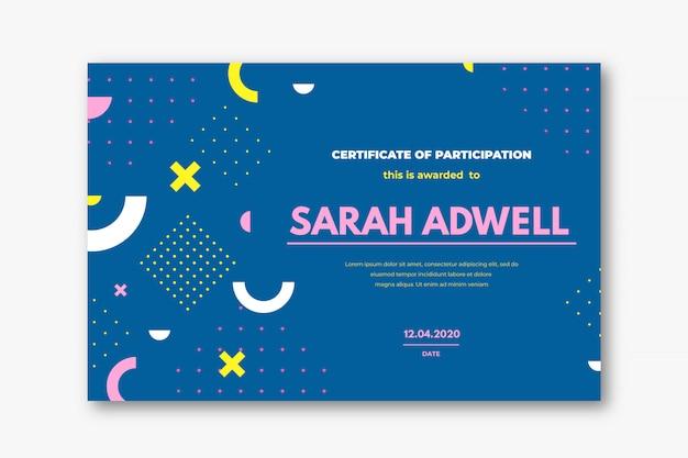 Concepto de plantilla de certificado creativo con formas geométricas.