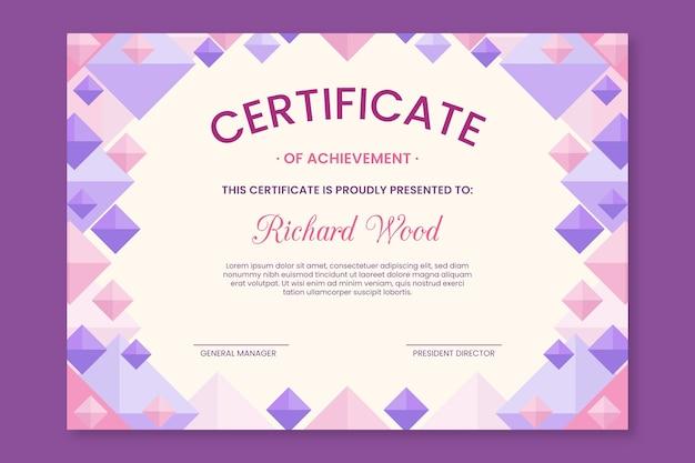 Concepto de plantilla de certificado geométrico abstracto