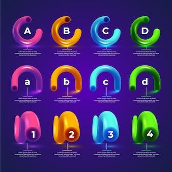 Concepto de plantilla de colección de infografía brillante 3d