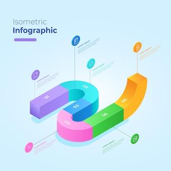 Concepto de plantilla de colección de infografía isométrica