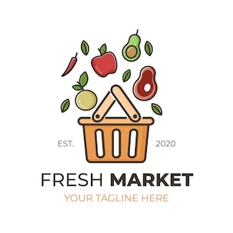 Concepto de plantilla de colección de logo de mercado