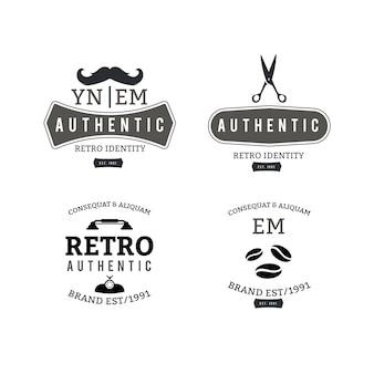 Concepto de plantilla de colección de logotipo retro
