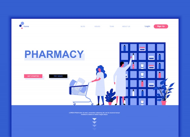 Concepto de plantilla de diseño de página de aterrizaje plano moderno de farmacia