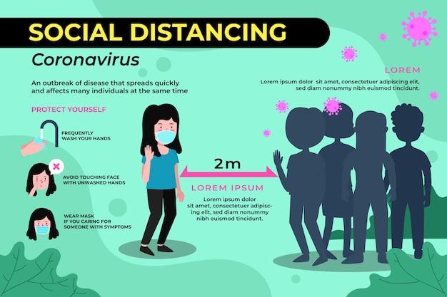 Concepto de plantilla de infografía de distanciamiento social