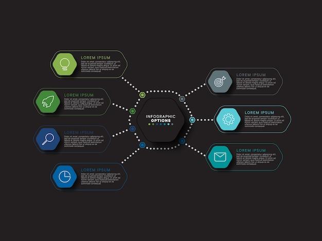 Concepto de plantilla de infografía empresarial con elementos relistic hexagonales