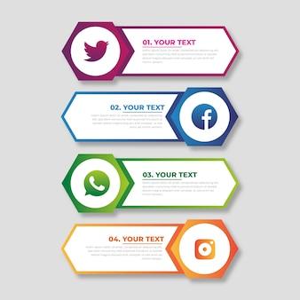 Concepto de plantilla de infografía gradiente