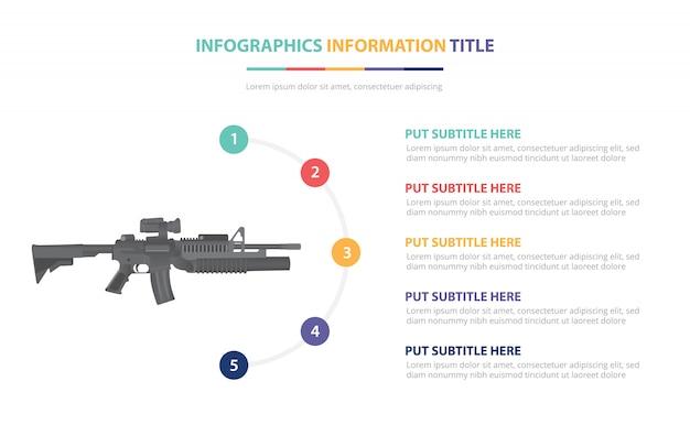 Concepto de plantilla de infografía de rifle de asalto m-16 con cinco puntos de lista y varios colores