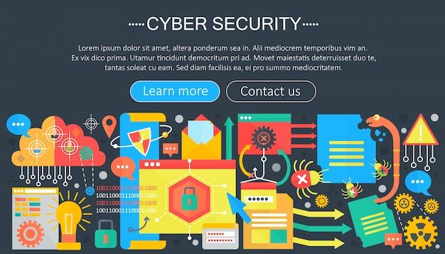 Concepto de plantilla de infografía de seguridad cibernética